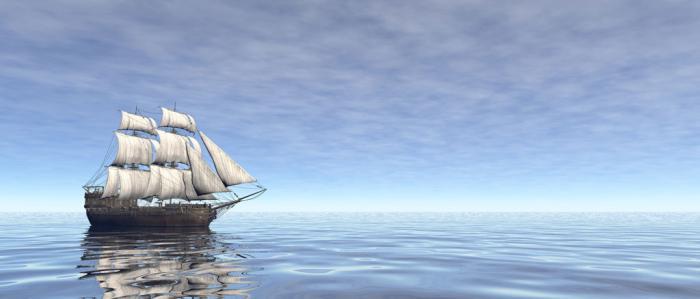 oud zeilschip op zee